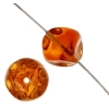 Glass Bead 9mm Dimpled Cube Two-Tone Amber Strung